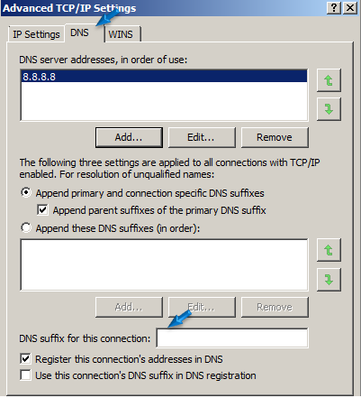 DNS tab