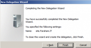 Completing The New Delegtion Wizard